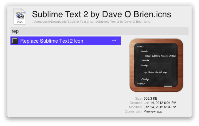 Replace Sublime Text 2 Icon - Action