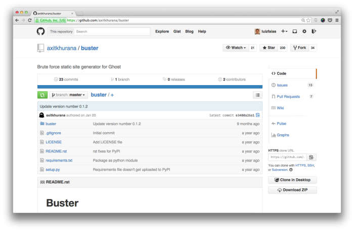 Projeto Buster no Github
