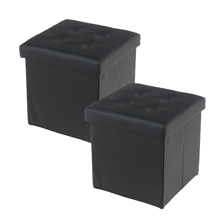 Forest f 3036 collapsible storage ottoman leather series for Storage ottoman singapore