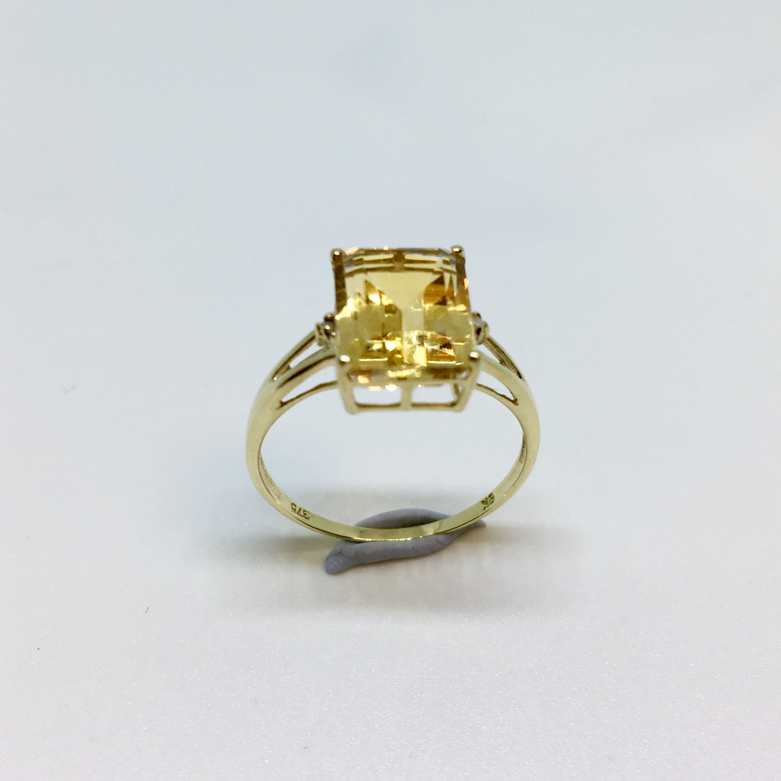 citrine emerald cut solitaire ring w accents 9k