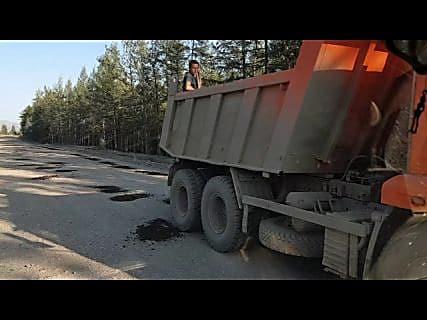 Ямочный ремонт на Колымской трассе в Магадане « автомагадан