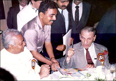 First Indian Pilot Bharat Ratna Sir J.R.D Tata blessing The Skyline Aviation Club seen with Capt A.D Manek                  15th October 1992