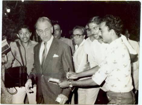 First Indian Pilot Bharat Ratna Sir J.R.D Tata blessing The Skyline Aviation Club seen with Capt A.D Manek                  15th October 1982