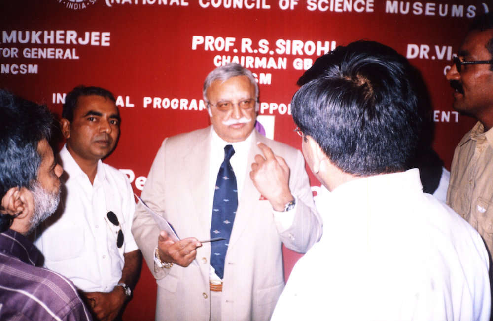 Dr. Vijaypat Singhania - Chairman of Raymond - seen with Capt A.D Manek. 100th Anniversary of aviation                   17th December 2003