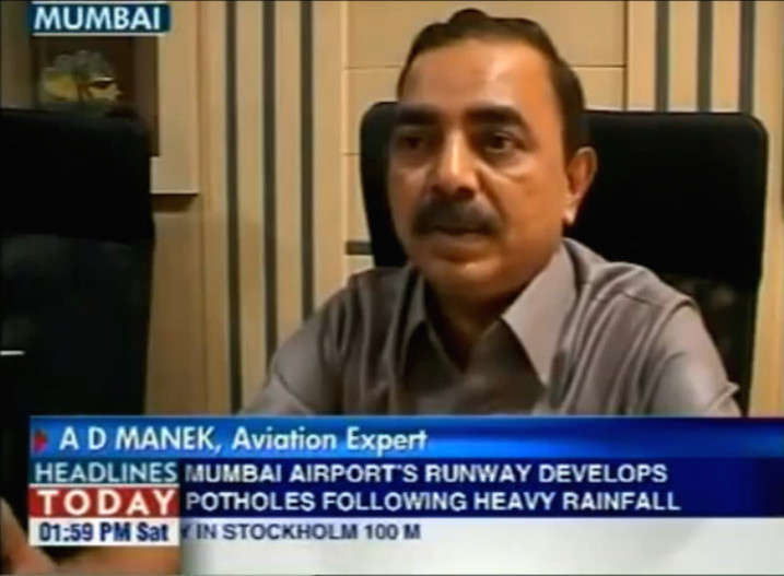 Capt A.D Manek - Aviation Expert - TV Coverage by Headlines Today News Channel talking about Mumbai                   Runway Potholes