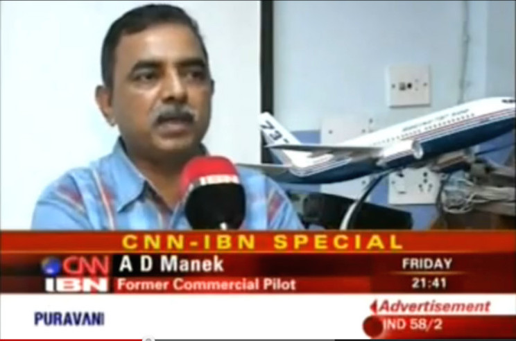 Capt A.D Manek - Aviation Expert - TV Coverage by CNN IBN English News Channel