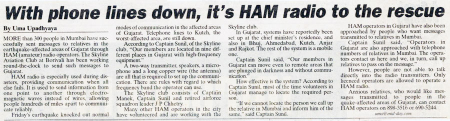MIDDAY Newspaper Report for Disaster Management Services of The Skyline Aviation Club