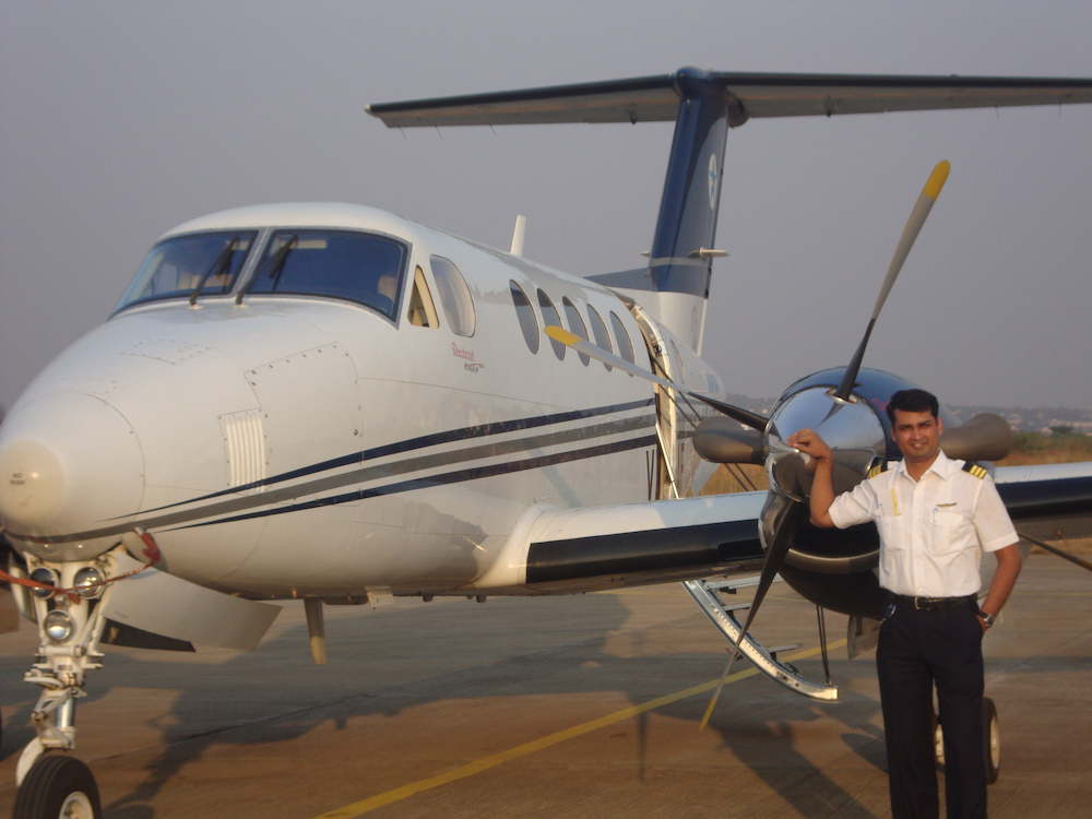 Capt Santosh Singh employed as Charter pilot with Air Taxi operations Mumbai