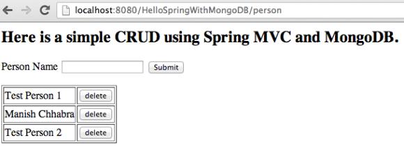 Spring Data MongoDB Spring MVC 3.2 Example App