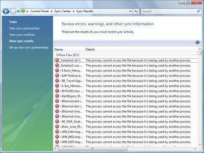 Offline Files synchronization errors