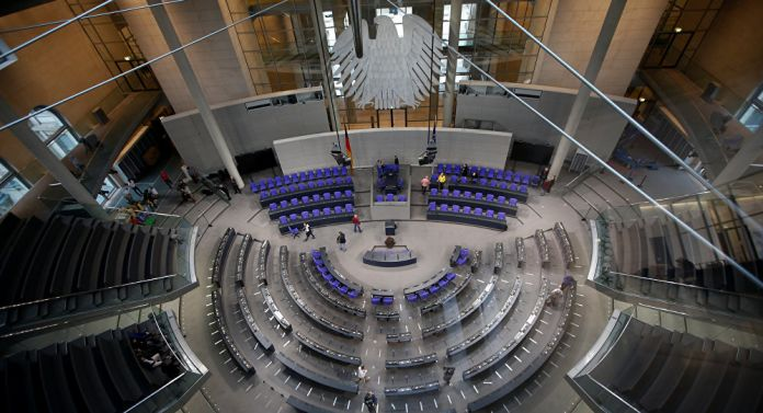 The plenary hall of the German house of Parliament Bundestag is pictured in preparation for the upcoming presidential elections during the Federal Assembly in Berlin, Germany