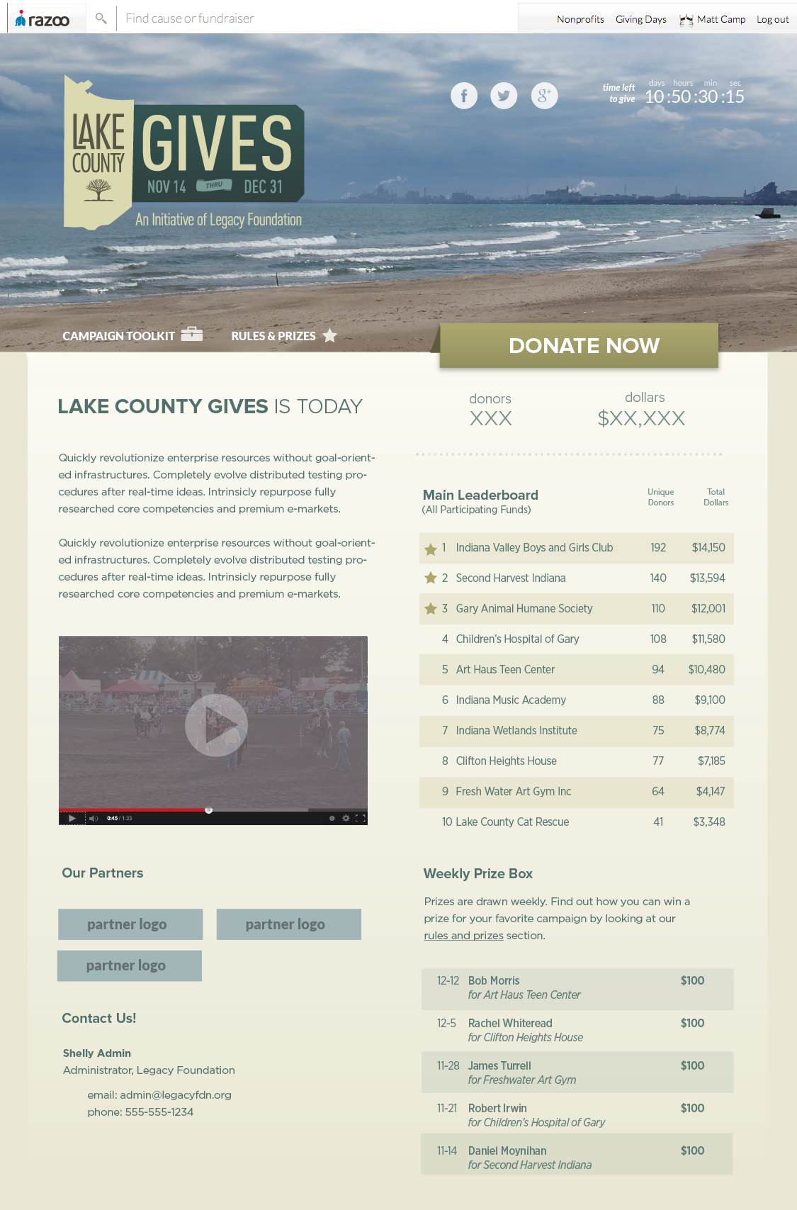 Lake County Gives Landing Page