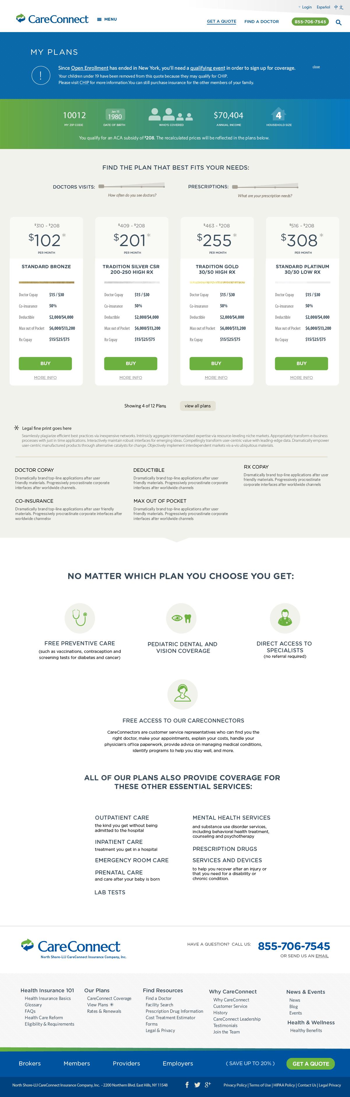 Plan Selection Page