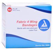 Bandaid Flexible Fabric 4 Wing 3x3 50/box Latex Free