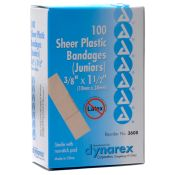 Economy Value Sheer Plastic Adhesive Junior Bandage Strips 100/box