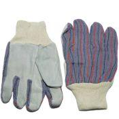 Leather Palm Knit Wrist Work Gloves Dozen