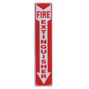 Sign Fire Extinguisher Arrow 4x18 Plastic
