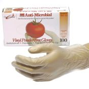 Gloves Vinyl Powder Free Anti-Microbial For Food Service 100/Bx