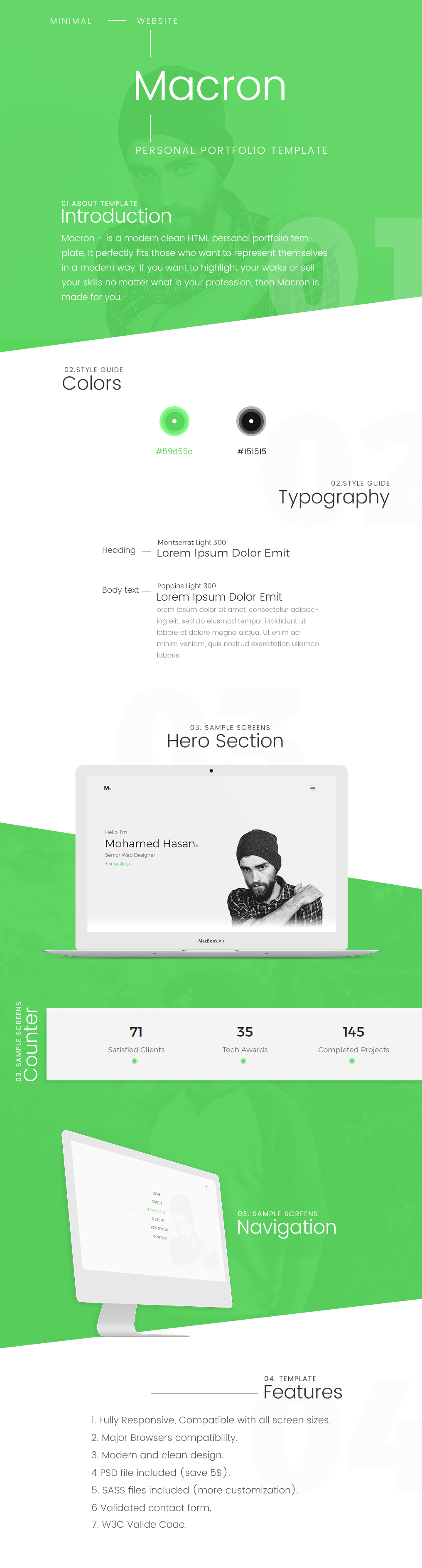Macron - HTML Personal Portfolio Template. - 5