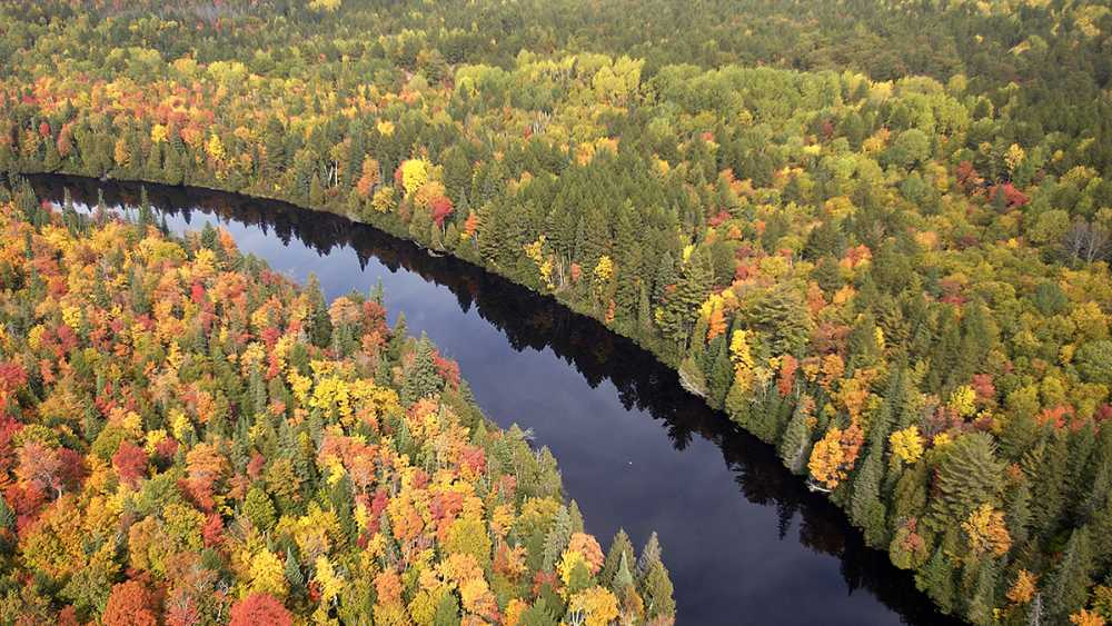 Aerial view of the Tahquamenon River in fall