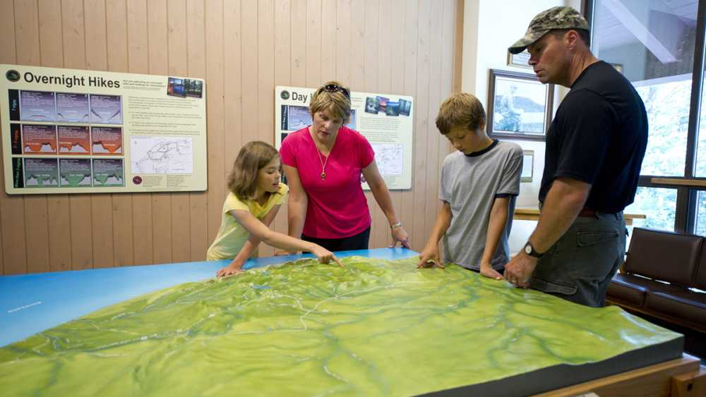 Porcupine Mountains relief map in the visitor center