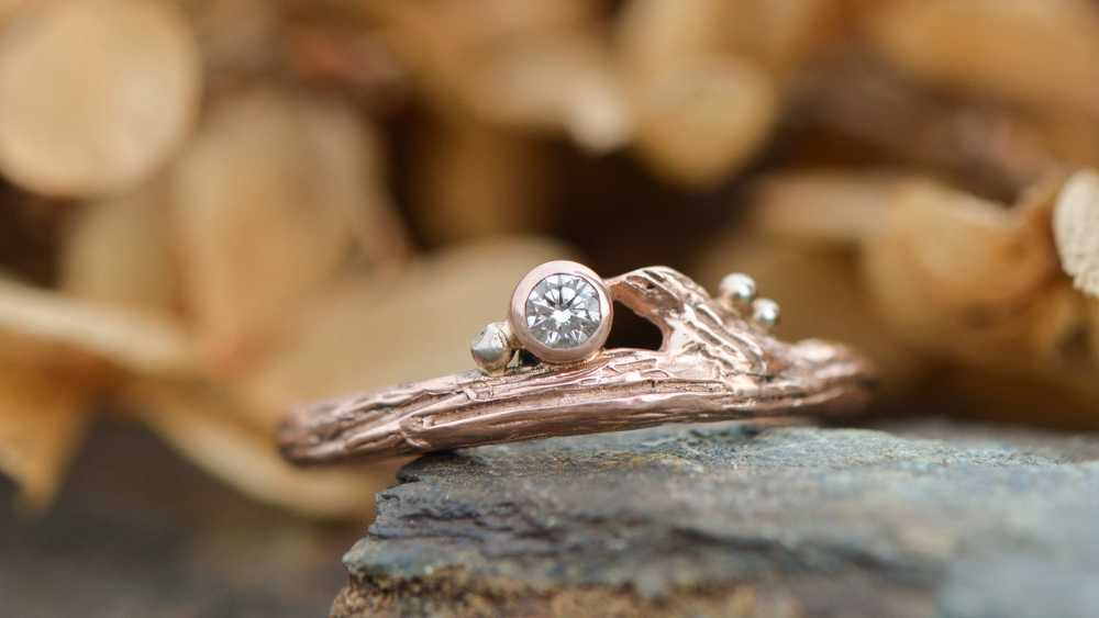 Rose Gold Diamond Twig Ring