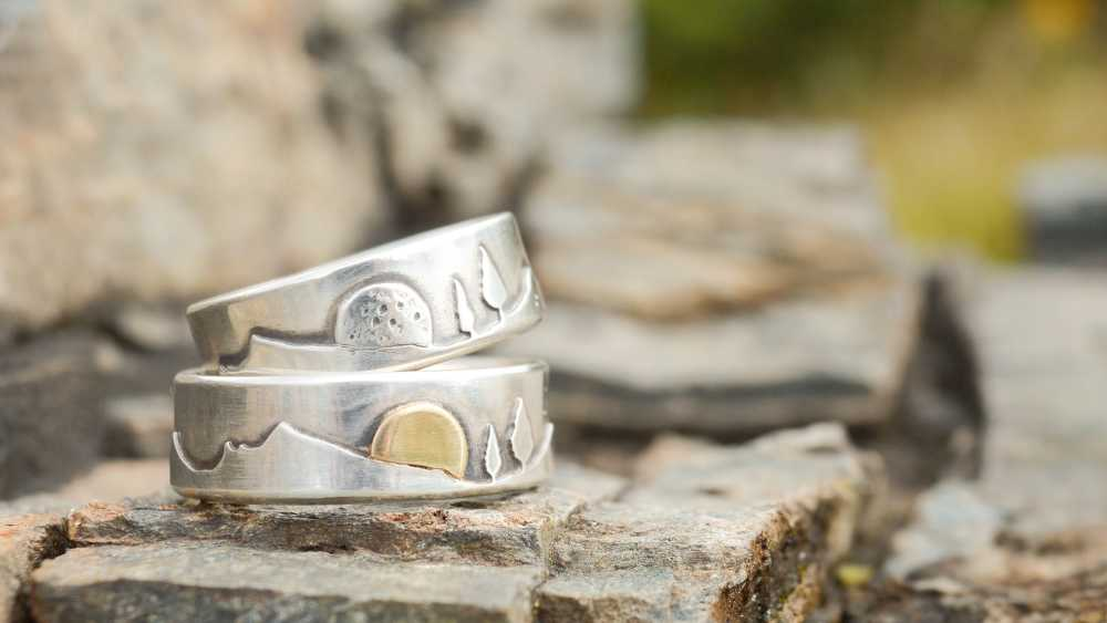 Sun and Moon Landscape Wedding Bands