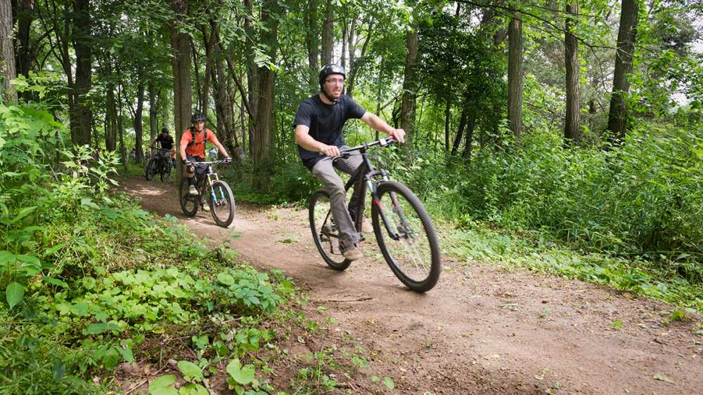 Mountain bikers ride a trail through the trees at Waterloo Recreation Area.
