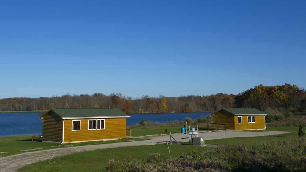 Modern cabins at Ionia State Park