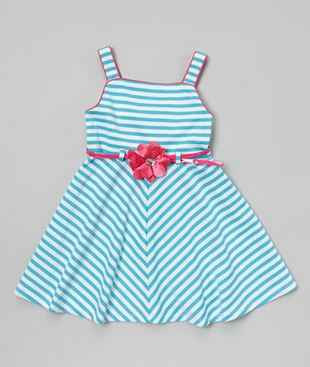 Turquoise & Fuchsia Stripe Belted Dress | Darling Spring and Easter Dresses | The Mindful Shopper