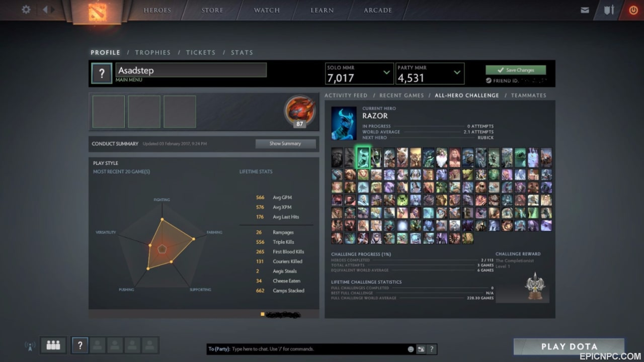 selling 7000 solo 4500 party cheap dota 2 account