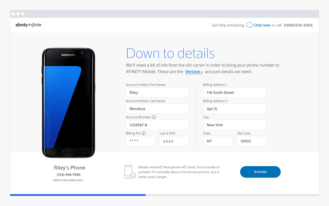 Device on down to details page
