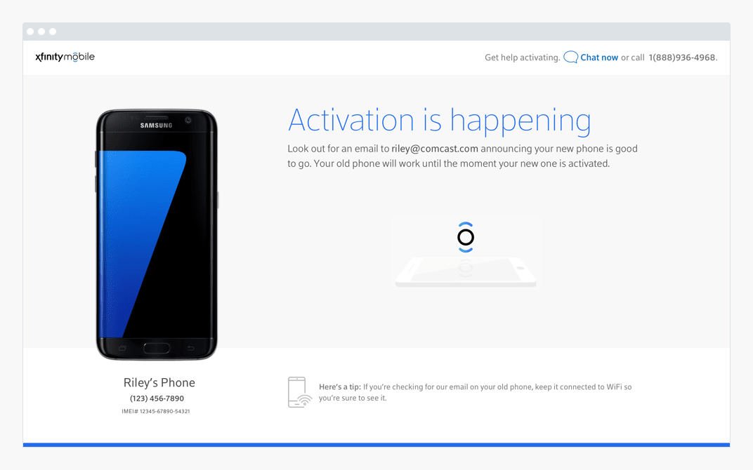 Device on activation in progress page