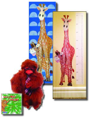 "Award-Winning Children's book — The Gang at Baxter's Corner Gift Set Includes ""What A Tree It Will Be!"" – Story About Cooperation, Folkmanis Puppet, 18x54 Canvas & Grow Chart Decal"