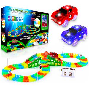 Award-Winning Children's book — Glow in The Dark Race Car Tracks with 360pk Flexible Track Set and 2 LED Toy Cars