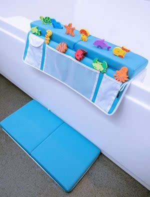 Award-Winning Children's book — Supa Ant Bath Kneeler and Elbow Rest with 12 Free Bath Toys- Machine Washable & Fast Dry PE Foam Elbow& Knee Pads with Non-Slip Bottom for Baby Bath