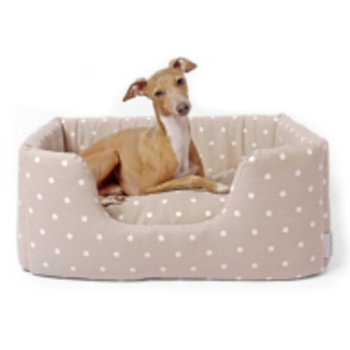 Charley Chau Deeply Dishy Dog Bed Dotty Taupe