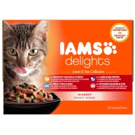 IAMS Delights Land & Sea Collection in Gravy Adult Cat Food  85g x 24
