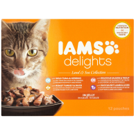 IAMS Delights Land & Sea Collection in Jelly Adult Cat Food 85g x 12