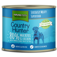 Natures Menu Country Hunter Mackerel & Chicken Adult Dog Foods Cans 600g x 6