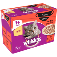 Whiskas 1+ Creamy Soup Meaty Selection Adult Cat Food  85g x 12