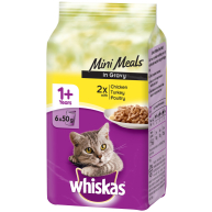 Whiskas 1+ Mini Meals Poultry Selection in Gravy Adult Cat Food Pouches 50g x 6