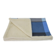 Earthbound Sherpa Blue Check Dog Blanket