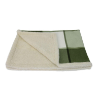 Earthbound Sherpa Green Check Dog Blanket