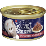 Gourmet Solitaire Beef in Tomato Sauce Cat Food 85g x 12