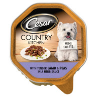 Cesar Tray Country Kitchen Mini Fillets Lamb & Peas in Sauce Adult Dog Food 150g x 14