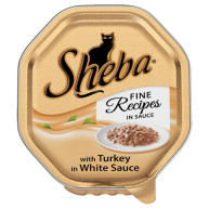 Sheba Tray Fine Recipes Turkey in White Sauce Adult Cat Food 85g x 18