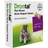 Drontal Plus Flavour Bone Shaped Dog Worming 1 tablet NFA-D