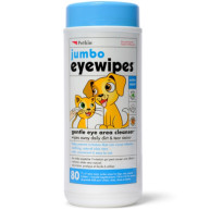 Petkin Jumbo Eye Wipes For Dogs & Cats 80 wipes