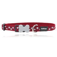 Red Dingo Dog Collar Stars Red with White Stars - Medium